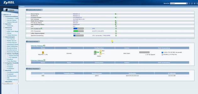 Web-Interface vom ZyXEL NSA325 v2
