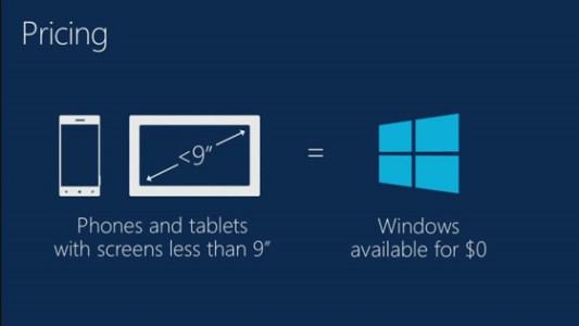 Microsoft macht Windows für Smartphones und Mini-Tablets kostenlos