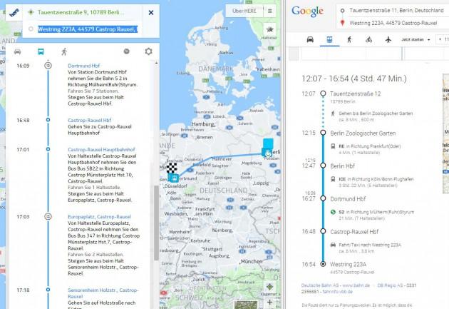 Vergleich HERE vs. Google Maps