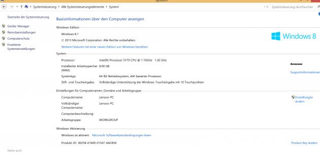 Lenovo Yoga 3 Pro basis informationen