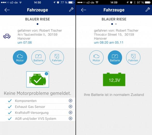 Alles im grünen Bereich: o2 Car Connection liest den Fehlerspeicher des Fahrzeugs aus und leitet die Daten per Cloud zur Smartphone-App.