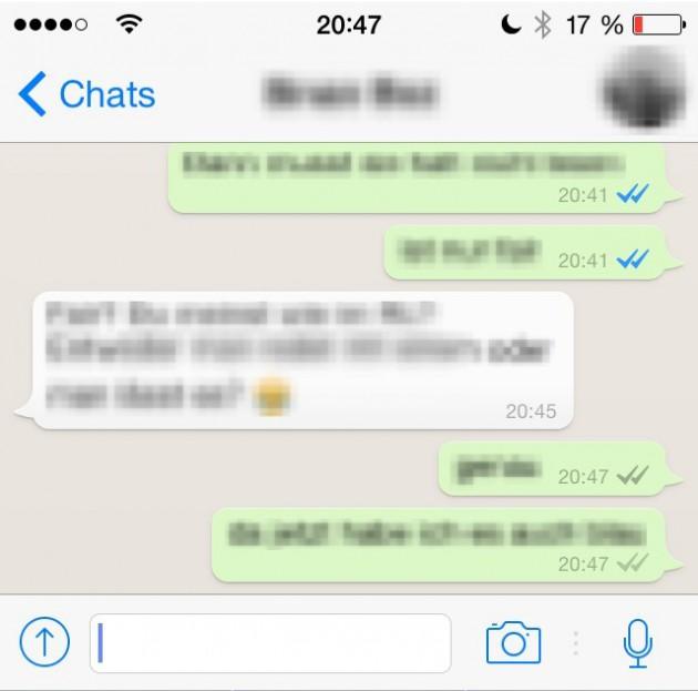 Whatsapp blauer Haken