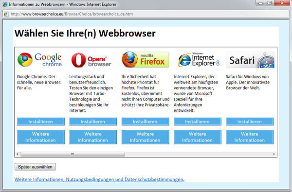 Microsoft muss nicht länger Chrome oder Firefox in Windows bewerben