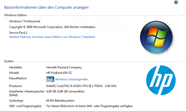 HP ProBook 450 G2 Basis-Informationen von Windows