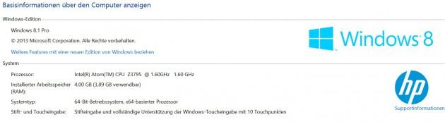 Tester - HP Elitepad 1000 G2 SysteminformationenBasis