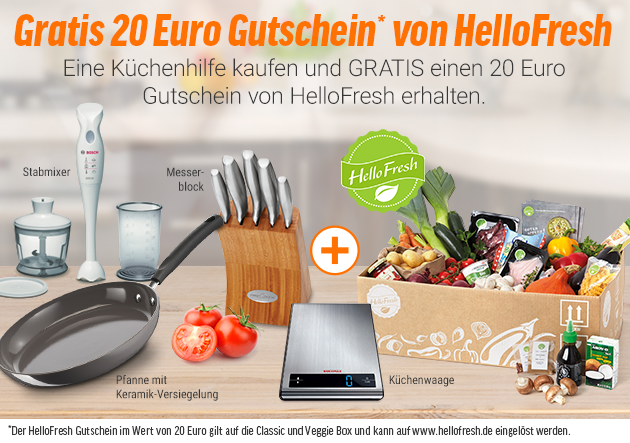20 euro hellofresh gutschein beim kauf von k chenhelfern. Black Bedroom Furniture Sets. Home Design Ideas