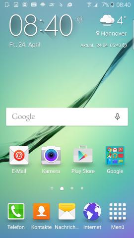 Homescreen Samsung Galaxy S6 Edge