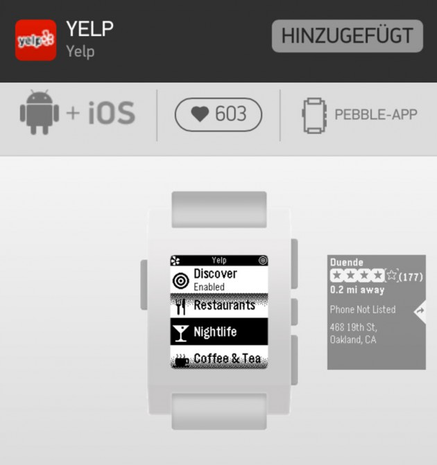 Yelp für Pebble