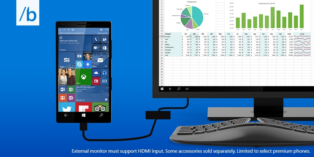Build 2015: Continuum macht Smartphones zu Desktop-PCs
