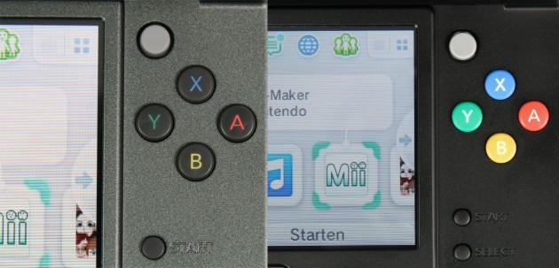 Links die Tasten vom 3DS XL, auf der rechten Seite die farbigeren Bedienelemente vom 3DS.
