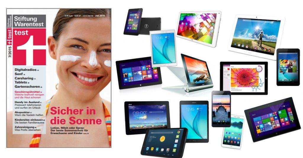 Stiftung Warentest 07/2015: 36 aktuelle Tablets mit Android und Windows in der Analyse