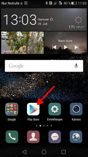 Google Play Store aufrufen