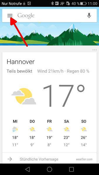 Menue Google-App oeffnen