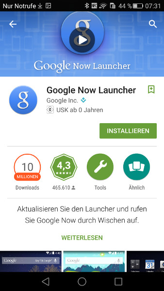 Google Launcher aus Google Play Store installieren