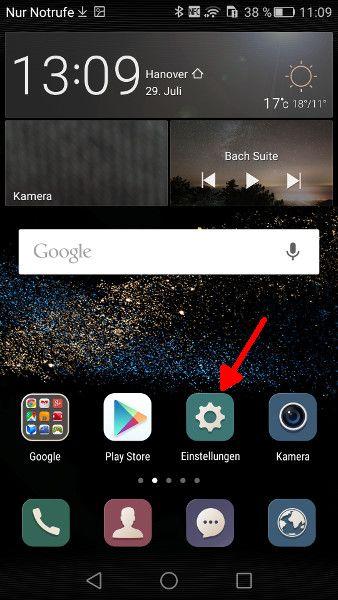 Android Einstellungen oeffnen