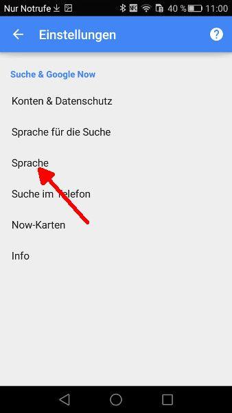 Google-App Sprache oeffnen