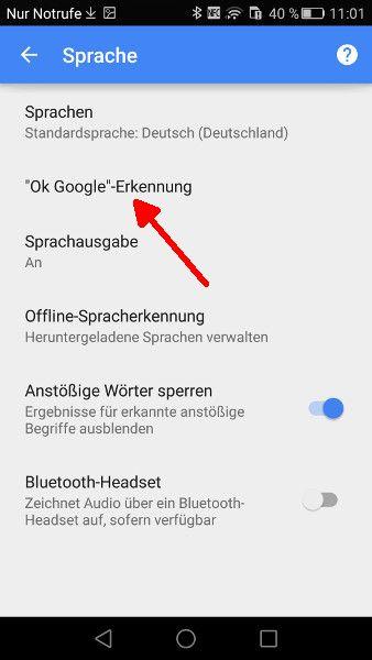 Google-App OK Google Einstellungen oeffnen