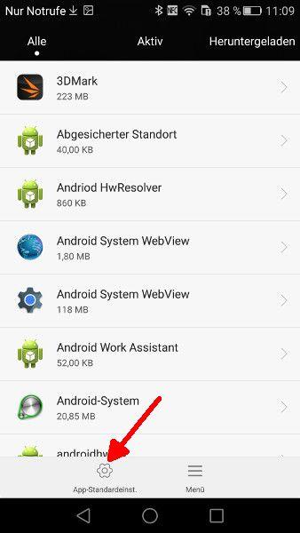 Android Einstellungen App-Standardeinstellungen oeffnen