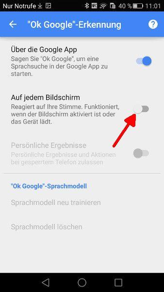 OK Google auf jedem Bildschirm aktivieren