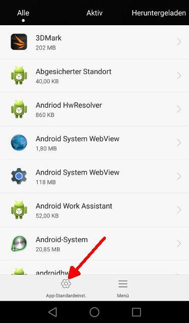 Android Lollipop App-Standardeinstellungen aufrufen