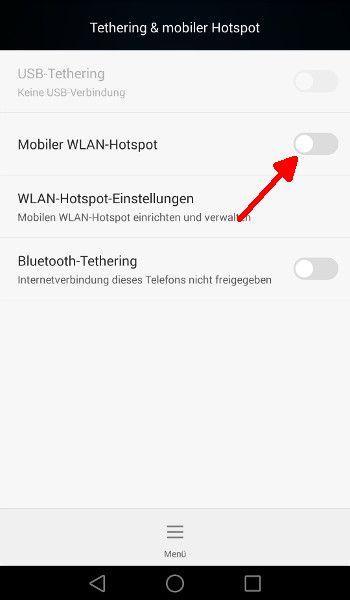 Android Mobilen WLAN-Hotspot aktivieren