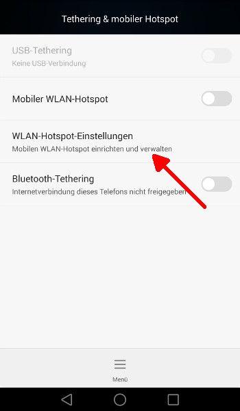 Android WLAN-Hotspot-Einstellungen waehlen
