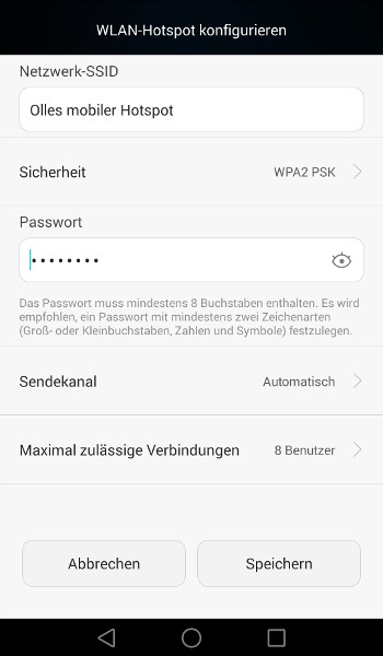 Android WLAN-Hotspot konfigurieren