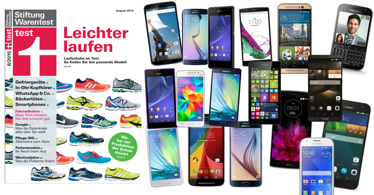 17 smartphones im test bei stiftung warentest 08 2015. Black Bedroom Furniture Sets. Home Design Ideas