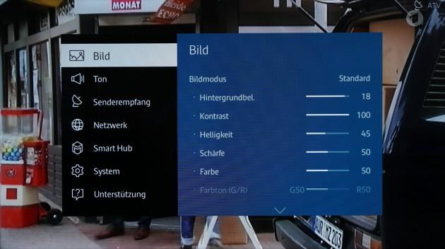 Samsung Tizen TV Einstellungsmenue