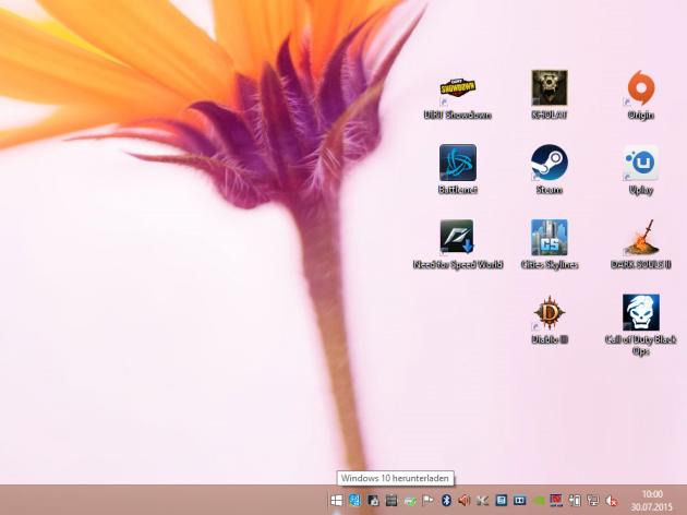 Erscheinung auf der Taskleiste: Das Icon der Get Windows 10-App