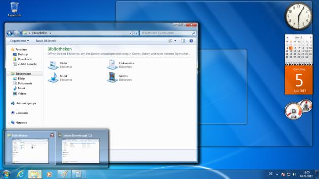 Weniger Klimbim: Windows 7 kam aufgeräumt daher.
