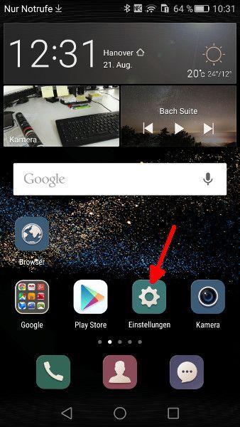 Android Launcher Schritt 1 Einstellungen aufrufen
