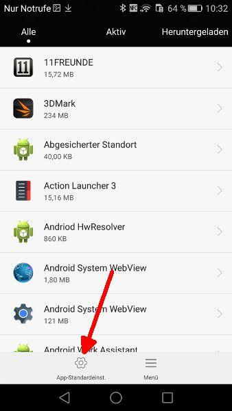 Android Launcher Schritt 3 App-Standardeinstellungen anwaehlen