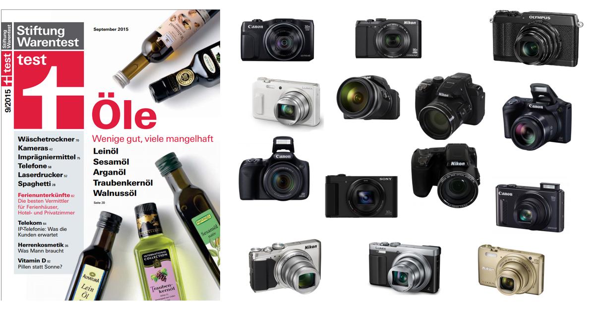 Stiftung Warentest 09/2015: 14 Kameras mit Superzoom im Test