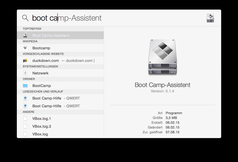 Der Apple Boot Camp-Assistent hilft bei der Windows-Installation. Man startet ihn einfach über die Systemsuche Spotlight.