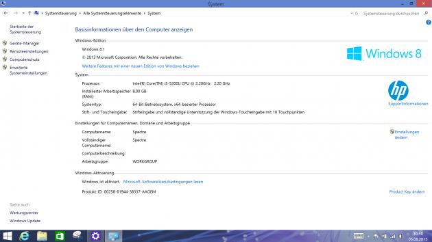 HP Spectre i5 Win 10 Zurueck 6