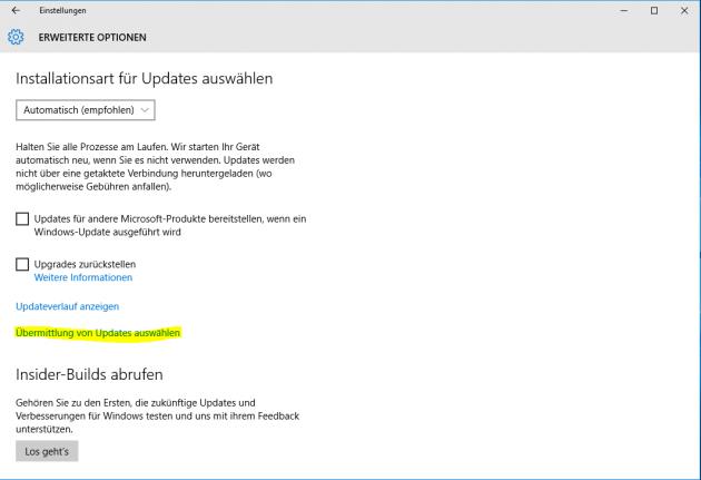 Windows 10 Erweiterte Einstellungen