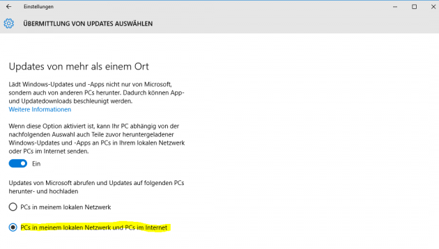 Windows 10 Uebermitteln
