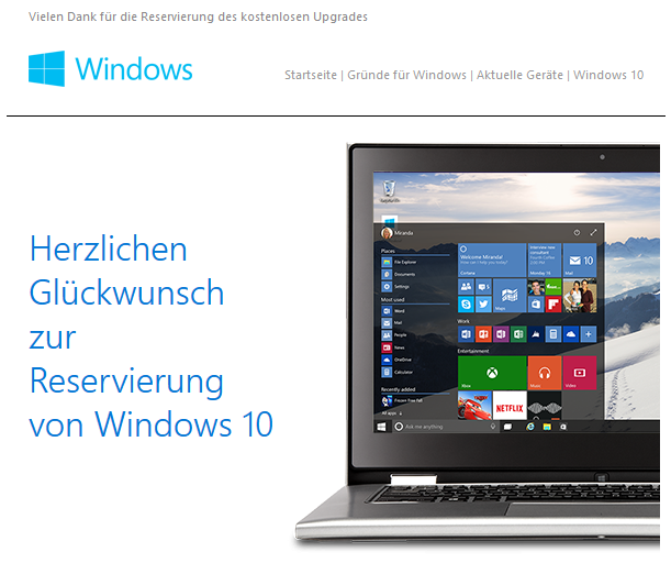Windows 10 Update email