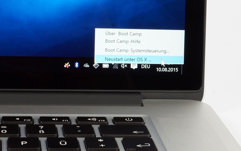 Ein Systemwechsel von Window 10 zu OS X auf unserem MacBook Pro 15 Retina dauert nur 25 Sekunden.