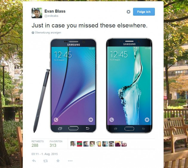 Leak von Evan Blass: Samsung Galaxy Note 5 und Galaxy S6 Edge Plus