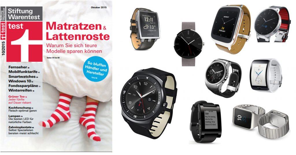 Stiftung Warentest 10/15: 12 Smartwatches im Test – keine konnte richtig überzeugen
