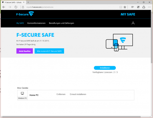 Lizenzen schnell im Blick beim Online-Portal F-Secure MySAFE