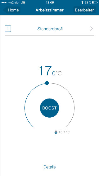HomeMatic IP App Thermostat manuell r