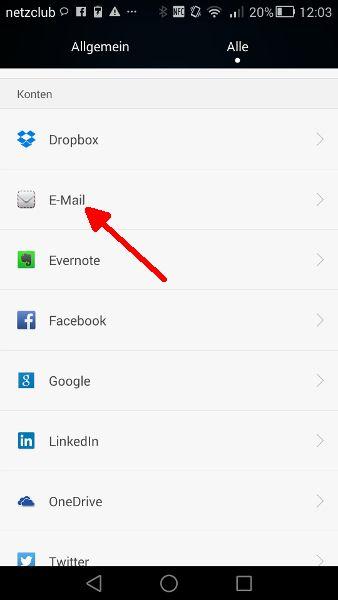 Schritt 2 Mail-Synchronisierung E-Mail-Konten aufrufen