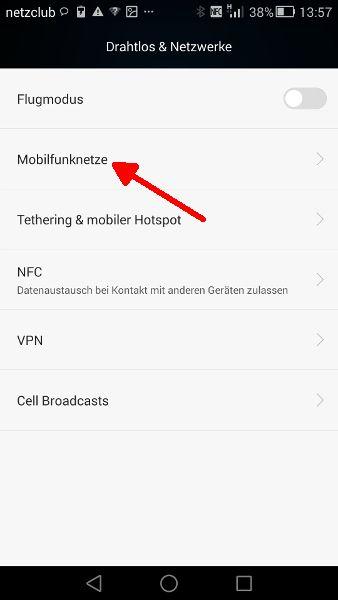 Schritt 3 LTE Mobilfunknetzwerke anwaehlen