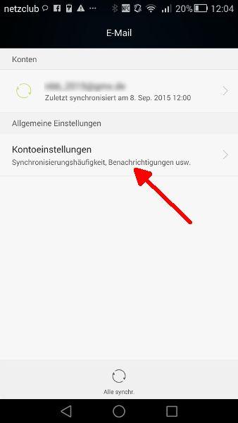 Schritt 3 Mail-Synchronisierung Konteneinstellungen oeffnen