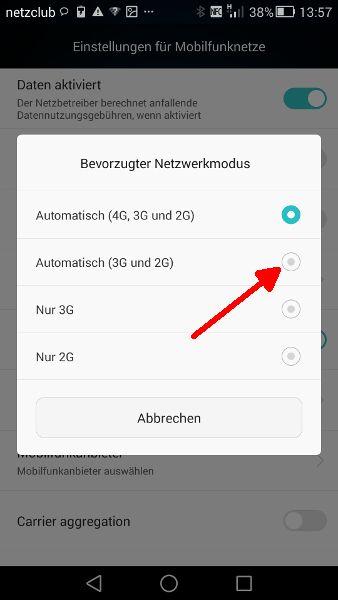 Schritt 5 LTE UMTS Automatisch (3G und 2G) auswaehlen
