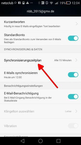 Schritt 5 Mail-Synchronisierung Synchronisierungszeitplan aufrufen
