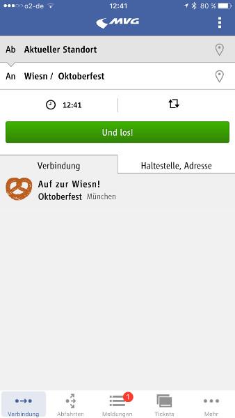 Screenshot MVG Fahrinfo München